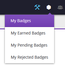 My Badges navigational menu