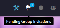pending group invitation link in the navigational menu